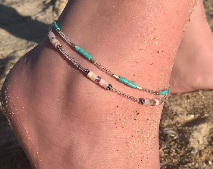 Turquoise & sterling silver boho anklet / seed bead anklet/ beach jewelry/ summer accessories