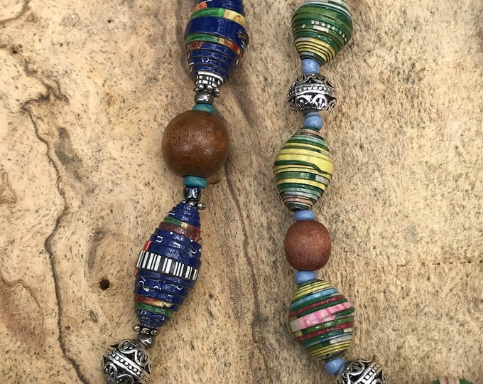 Custom order for Sarah- blue paperbead necklace available