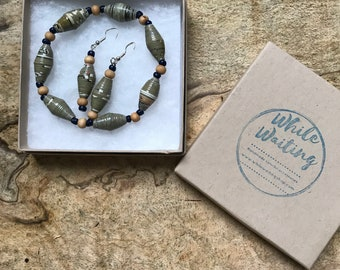 Olive green and navy blue paper bead bracelet and earrings set/ handmade bracelet set/ eco- friendly gift set