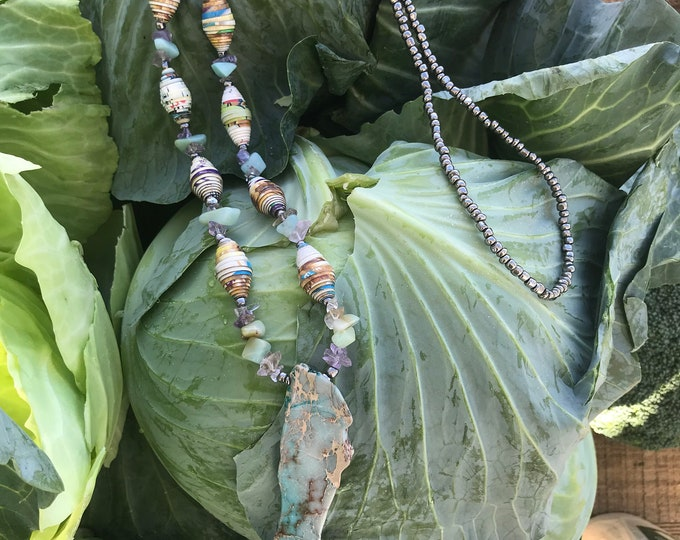 Earthy amazonite /amethyst stone necklace- aqua / sIlver/ paperbead necklace/ pendant necklace