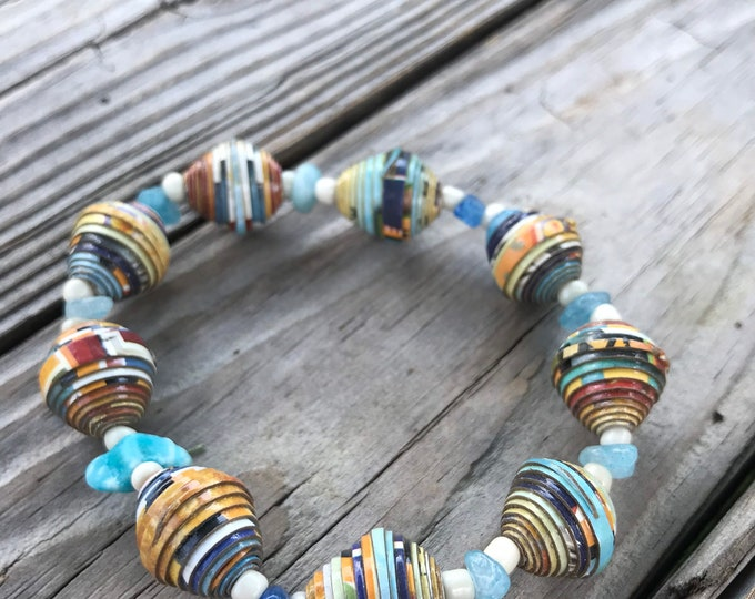 Blue and white Paperbead stretch bracelet- / recycled/ Haitian paperbeads/ boho paper and stone bracelet