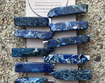 Blue Stone hair clip/ 2 inches blue hair clip/ druzy hair clip/ hair accessory / raw stone hair clip/ boho hair clip/ tie clip