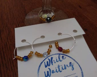 Wine glass charms- festive rich colors set of 4