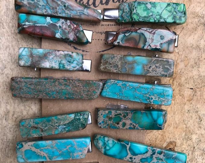 Turquoise blue Stone hair clip/ aqua green hair clip/ druzy hair clip/ hair accessory / raw stone hair clip/ boho hair clip/ tie clip