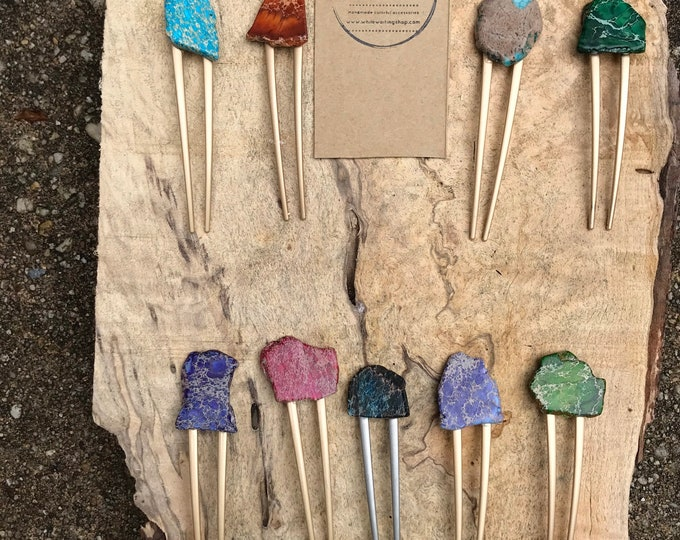 Colorful Stone hair fork/ turquoise hair pin/ druzy hair fork/ hair accessory/ raw stone hair fork/ boho hair clip/ hair fork/ red purple