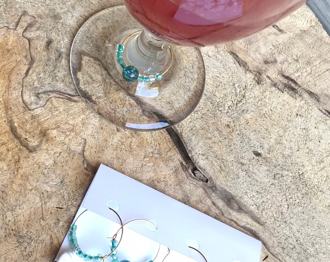 Beach boho wine charms/ teal vintage vibe wine charms/ hostess gifts