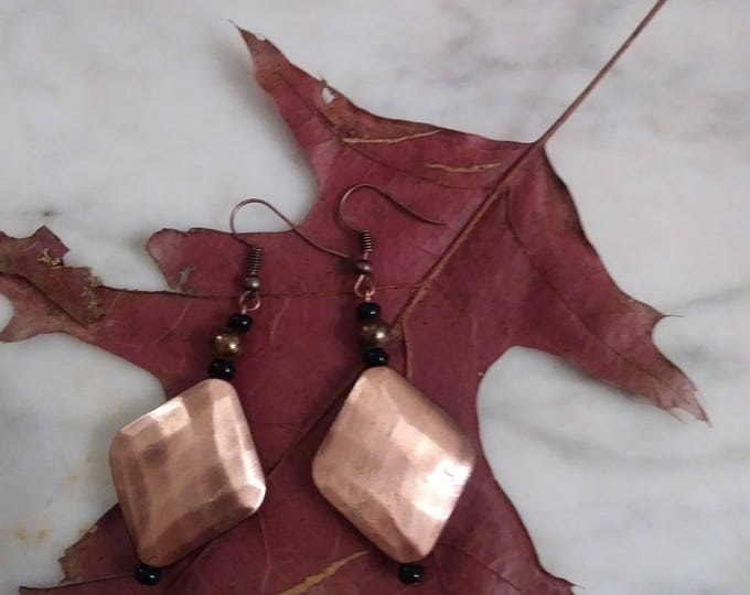 Copper plated earrings- with black/ copper earrings / copper clip on earrings / statement copper earrings