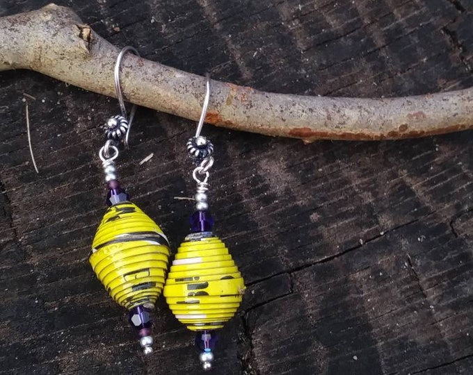 Yellow paperbead earrings/ with purple and sterling silver