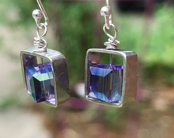 Square purple Tanzanite iridescent earrings/ small sterling silver earrings/ Swarovski crystal Tanzanite bead/ minimalistic earrings