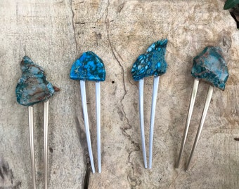 Turquoise Stone hair fork/ blue green hair fork / druzy hair fork/ turquoise hair accessory / raw stone hair fork/ boho hair pin/ hair stick