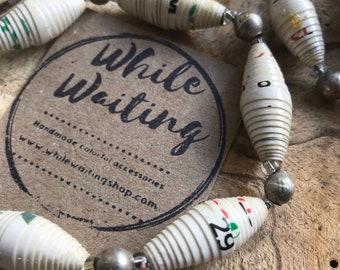 Paper bead Bracelet- vintage silver & Haitian paperbead ecofriendly/ white / stretch bracelet