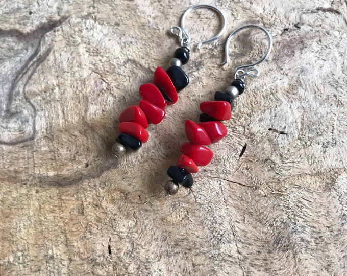 Vintage red coral & silver dangle earrings/ sterling silver stack earrings/ red stone earrings