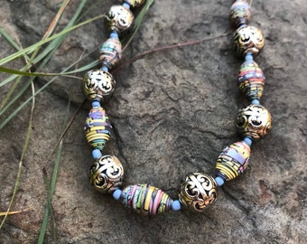 Silver and pastel blue paperbead necklace /western multi colored pastel necklace / paper bead necklace / boho chic ecofriendly