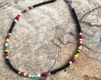 Black and multi colored boho anklet / seed bead anklet/ beach jewelry/ summer accessories