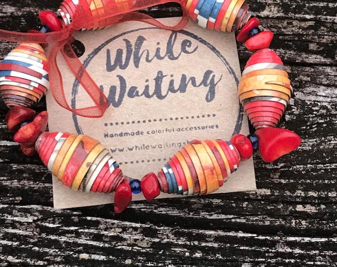 Boho stretch bracelet- red stone/ recycled/ Haitian paperbeads / red/blue/ orange /white