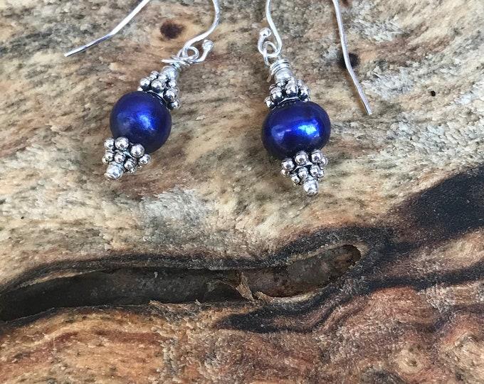 Blue pearl earrings/ sterling silver/ silver earrings/ navy blue pearl earrings