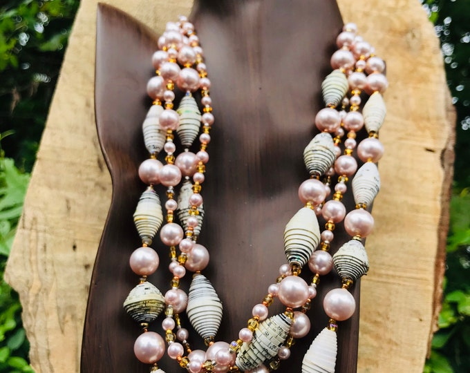 Paper and pearl multi strand necklace/ white pale pink/ gold tone Pearl statement necklace/ ecofriendly statement necklace
