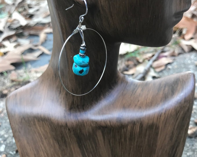 silver hoop earrings / turquoise stone earrings / dangle hoop earrings / geometric minimalist statement earrings