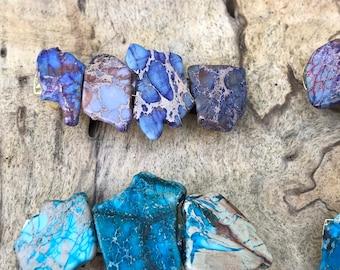 Turquoise purple hair clip/ turquoise hair barrette / druzy hair clip/ hair accessory raw stone hair clip/ boho hair clip/ hair barrette