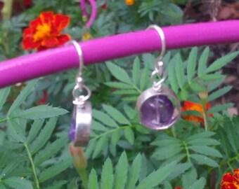 Amethyst earrings/ small sterling silver earrings