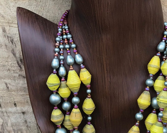 Paper and pearl multi strand necklace/ golden yellow sage green/ raspberry tone Pearl statement necklace/ ecofriendly statement necklace