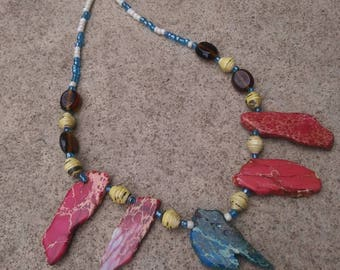 Red rock and paper statement necklace- red/ blue/ yellow/ bohemian statement choker