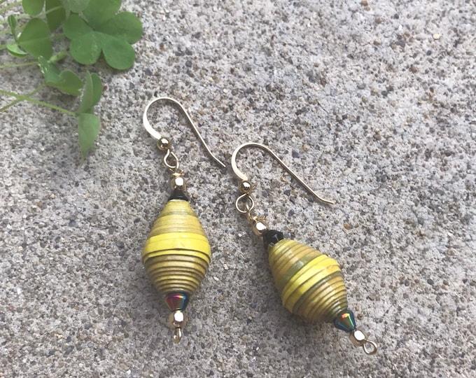 Yellow paperbead earrings / 14k gold/ ecofriendly jewelry