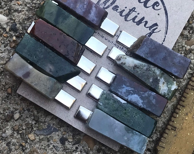 Jasper green purple/ stone hair clip 1.5 in/ green hair clip/ hair clip/ hair accessory / raw stone hair clip/ boho hair clip/ tie clip