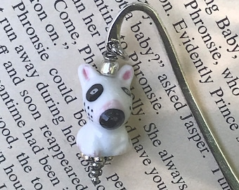 White dog charm bookmark/ dog charm bookmark / animal gifts for readers