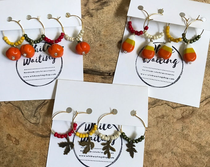 Fall/ autumn wine charms/ candy corn/ pumpkin/ leaves wine charms/ hostess gifts