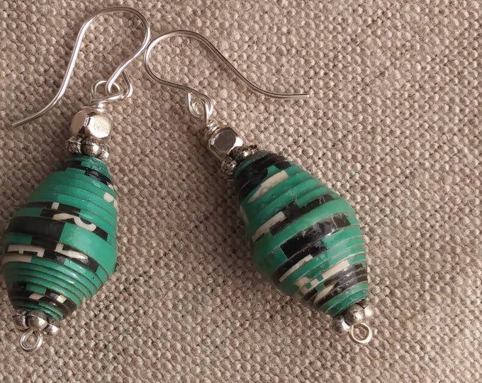 Green and silver paper bead earrings, handmade Green Earrings, sterling silver and paper, eco-friendly earrings