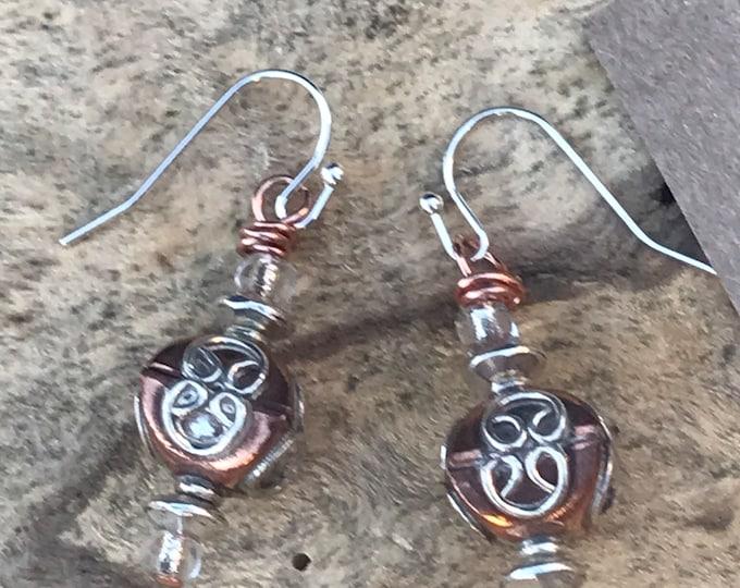 Silver and copper earrings/ sterling silver earrings
