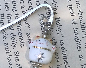 White cat charm bookmark/ smiley cat charm bookmark / animal gifts for readers