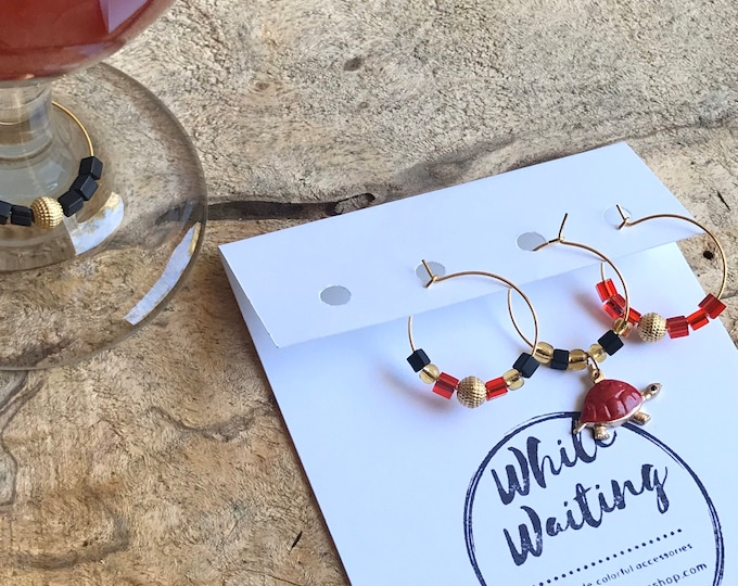 UMD wine charms/ University of Maryland wine charms/ hostess gifts/ turtle wine charms