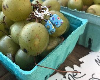 Small blue rectangular glass hoop earrings / silver hoop earrings / geometric blue earrings