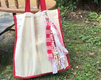 Canvas tassel tote bag/ boho market bag/ tassel tote- red eco friendly tote