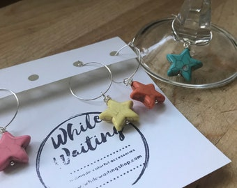 Multi colored Star Wine glass charms- turquoise , minimalist set of 4/ hostess gift/ stone wine charms