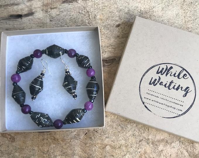 Black and purple paper bead bracelet and earrings set/ handmade bracelet set/ eco- friendly gift set