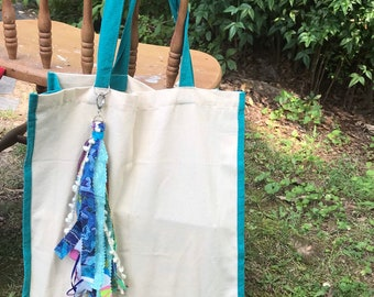 Canvas tassel tote bag/ boho market bag/ tassel tote- turquoise eco friendly tote