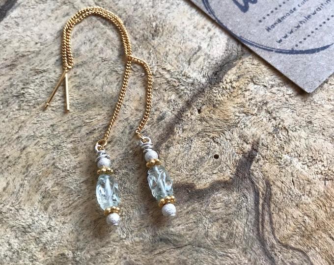 Petite vintage aquamarine threader earrings/ 18k gold threader earrings