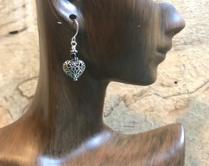 Valentines earrings/ sterling silver filigree heart earrings/ sterling silver glass heart earrings