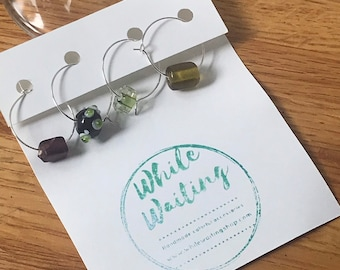 Wine glass charms- purple and chartreuse set of 4