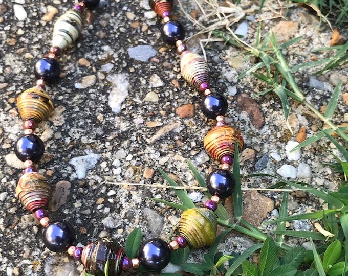 Dark purple and rich multi colored necklace/ paper and pearl necklace/ paperbead necklace/ beaded necklace