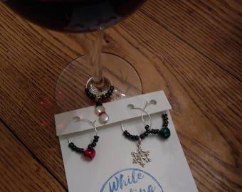 Wine glass charms- festive winter snow set of 4