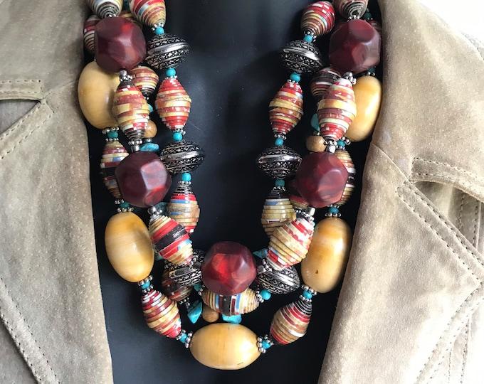 Western statement necklace/ multi strand/ eco friendly necklace/ paperbead necklace/ red statement necklace chunky tribal stone
