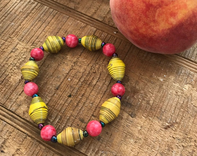 Yellow Paperbead stretch bracelet- multicolored/ recycled/ Haitian paperbeads/ boho yellow and coral pink