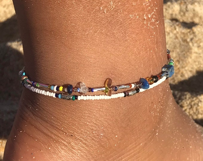Black and white boho anklet / seed bead anklet/ beach jewelry/ summer accessories