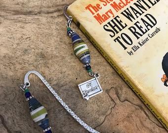 Teacher charm bookmark/ paper bead charm bookmark / teachers gifts for readers
