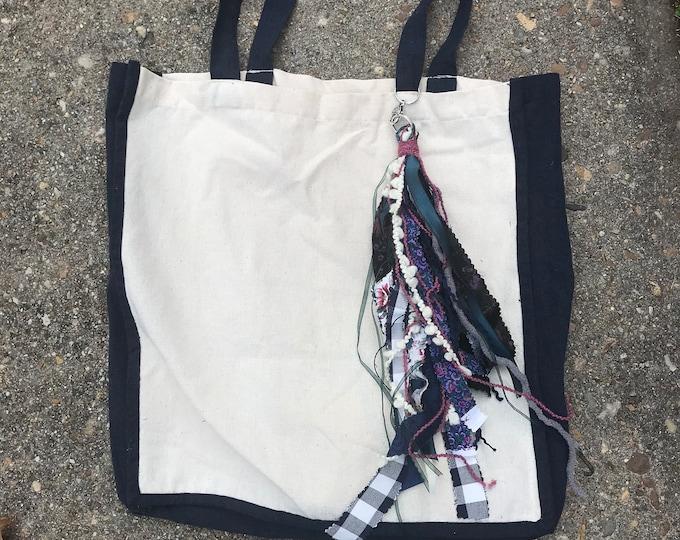 Canvas tassel tote bag/ boho market bag/ tassel tote- navy blue eco friendly tote