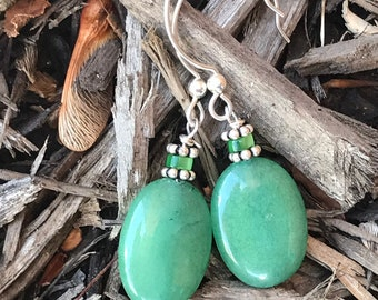 Green glass earrings / green and silver earrings / jade colored earrings